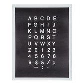 "Black Felt Letter Board With White Letters - 15 3/4"" x 20"""